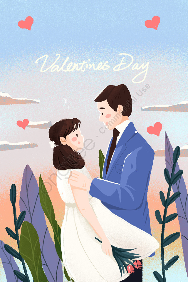 valentines day couple confession rose, Flower, Hand Painted, Sunset llustration image
