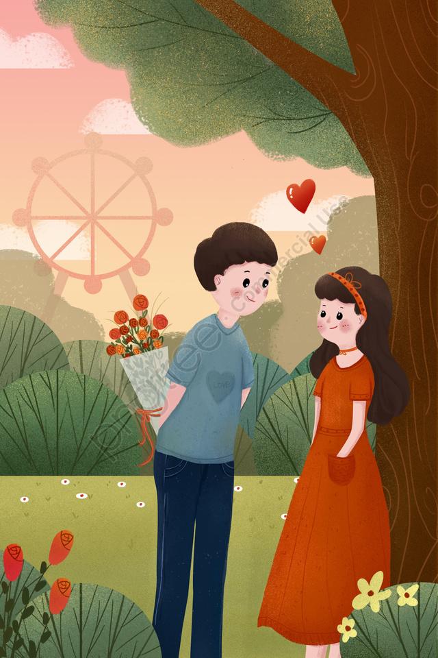 バレンタインの日カップルお祭り少年, ガール, バラ, 観覧車 llustration image
