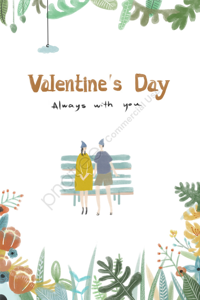 valentines day couple watercolor plant, Font, Valentines Day, Couple llustration image