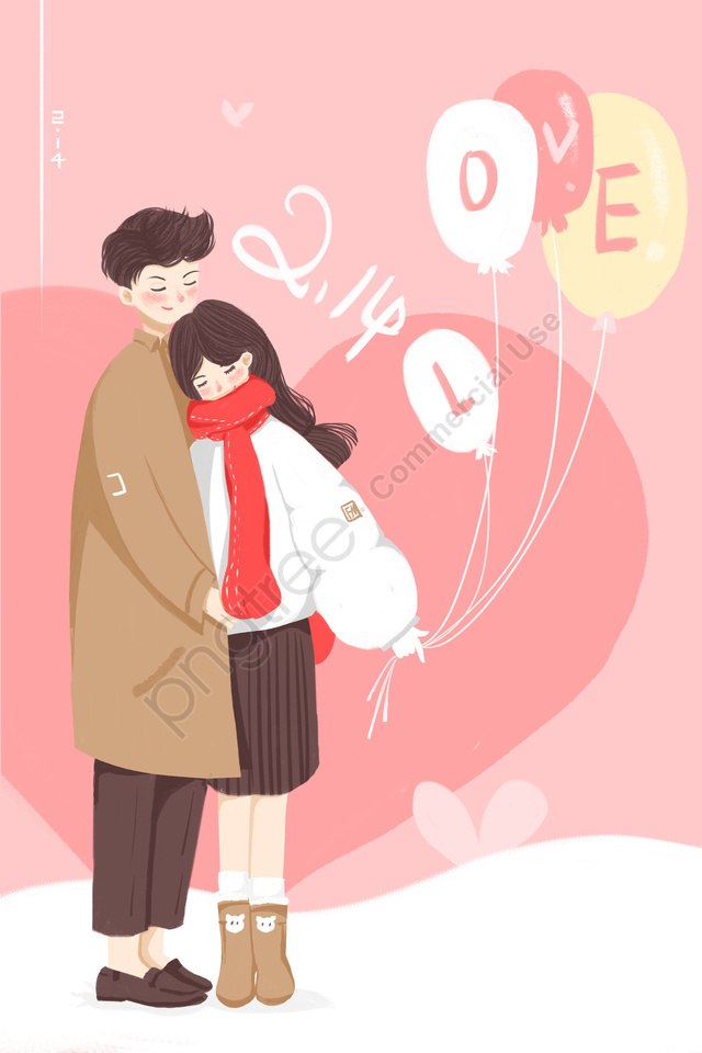 valentines day hand painted pink couple illustration, Pink, Couple, Illustration llustration image