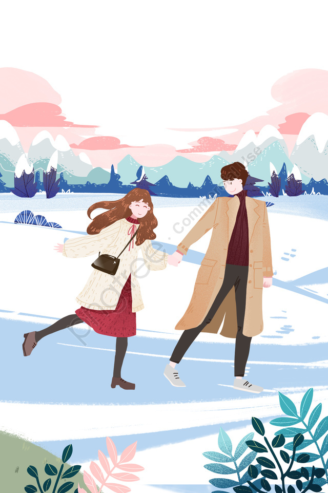 Valentines Day Little Boys And Girls Romantic Date Snow Walk, Love, Sweet, Walk llustration image