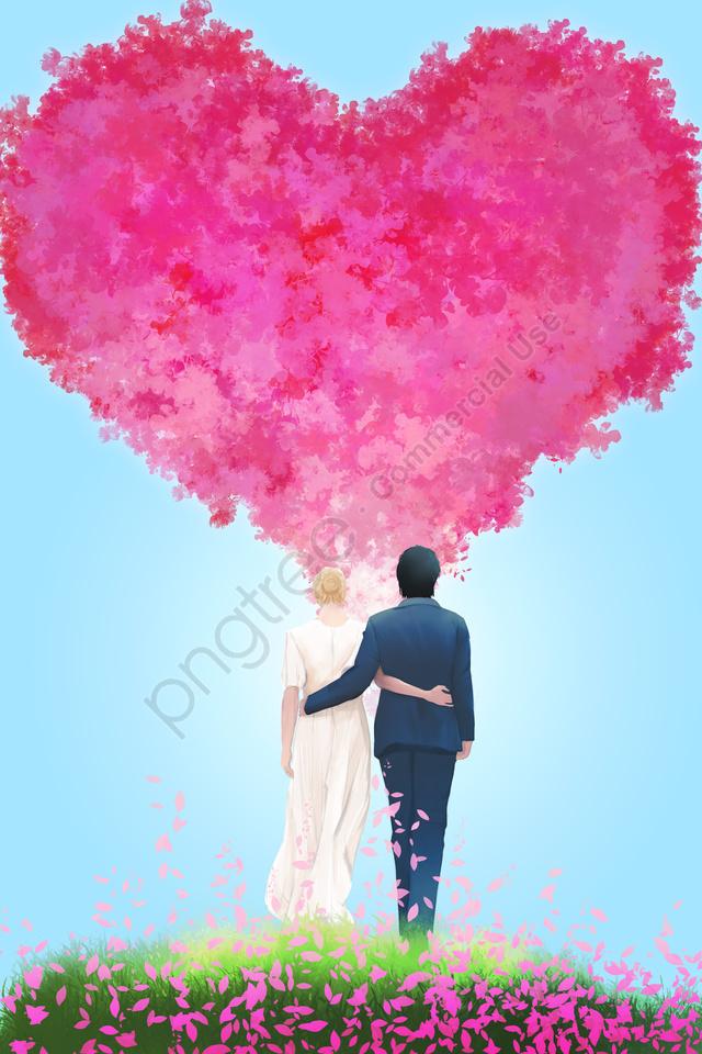 バレンタインの日七夕バラの花, 花弁, 結婚式, 手を組む llustration image