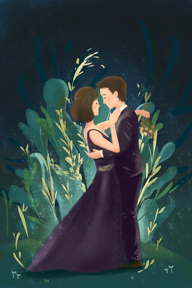 ロマンチックなバレンタインデーのウェディングドレス, 夢, 森, イラスト llustration image