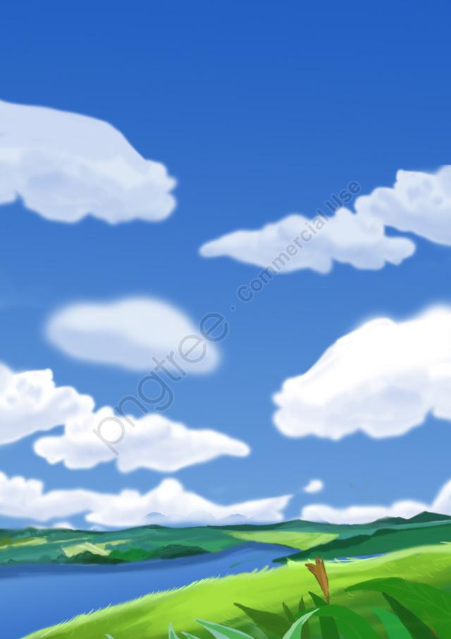 広い観光分野を見る, 草原, 青い空と白い雲, キャッスルピーク llustration image