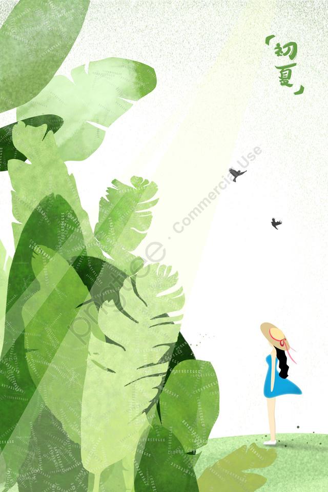 visor girl in blue dress little bird hillside, Early Summer, Breeze, Banana Leaf llustration image