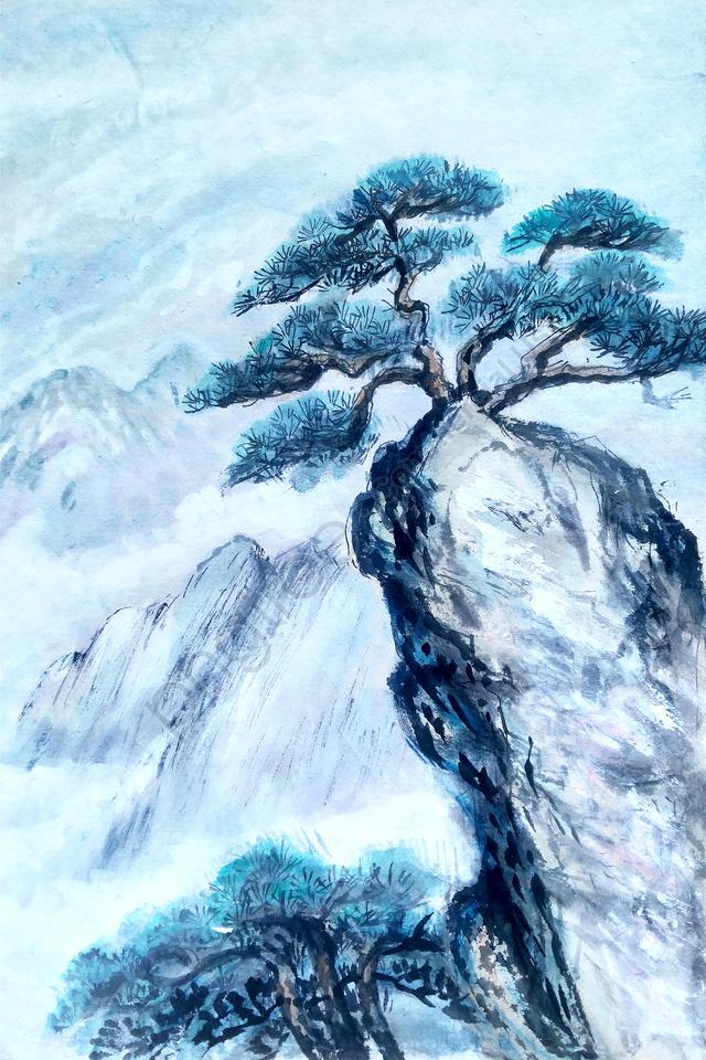 壁紙抽象綠色山河富春山住所, 繪畫, 水墨景觀, 景觀 llustration image