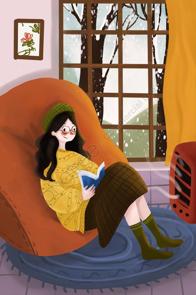 Warm Sincerity Illustration Winter, Heavy Snow, Winter Solstice, Winter Vacation llustration image