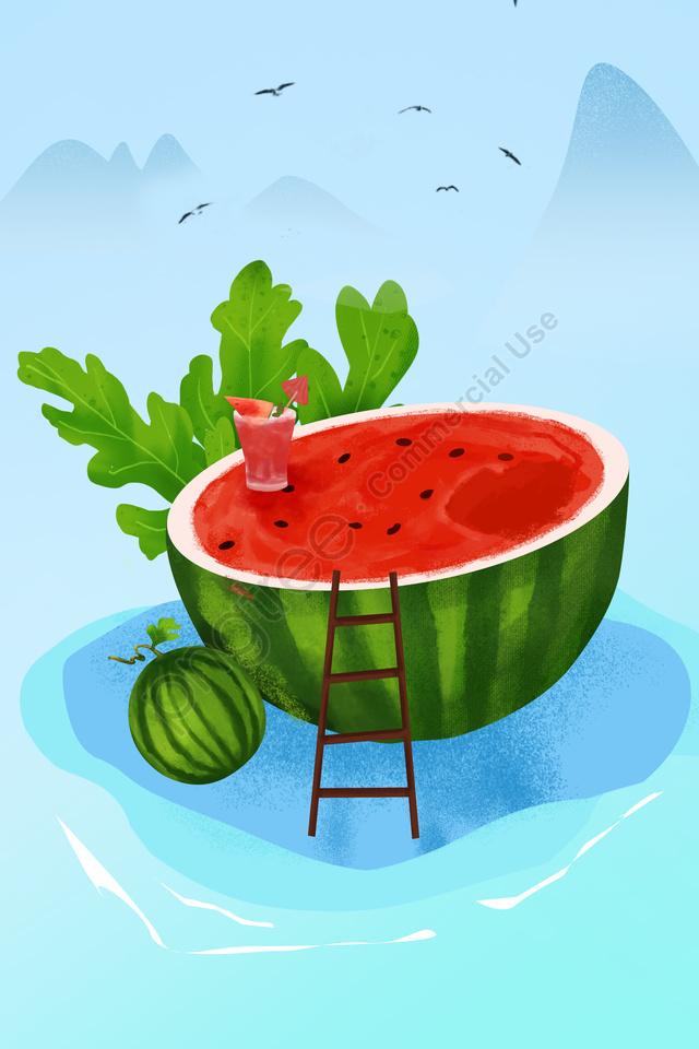 Watermelon Fruit Green Summer, Watermelon, Fruit, Green llustration image