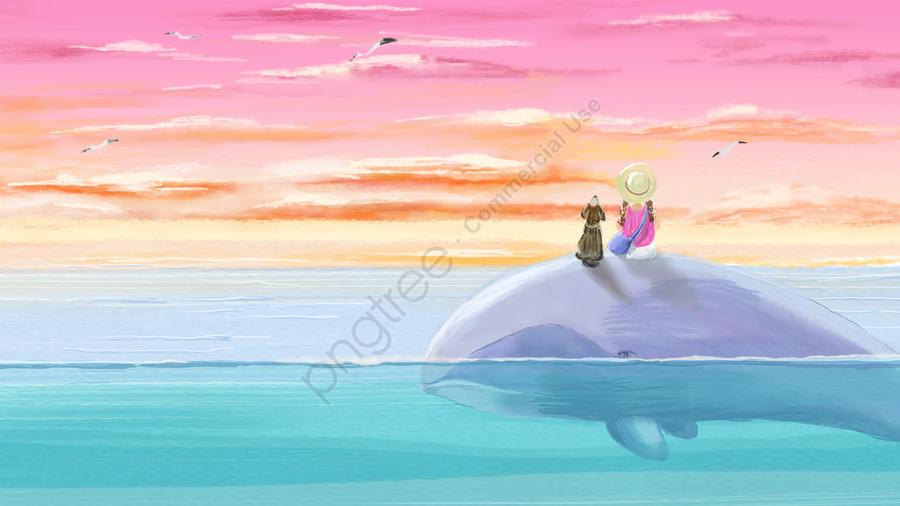whale girl maritime travel, Hongxia, Seagull, Seabird llustration image