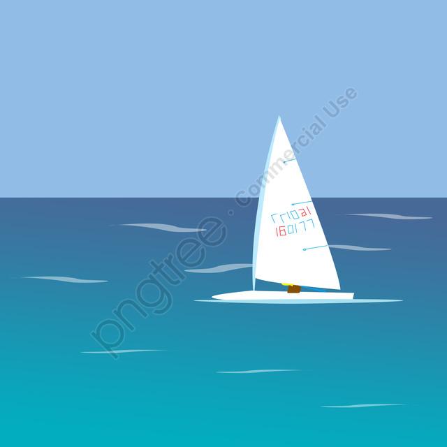 White Clouds Sea Sailboat Landscape, Ocean, Summer Landscape Material, Summer llustration image