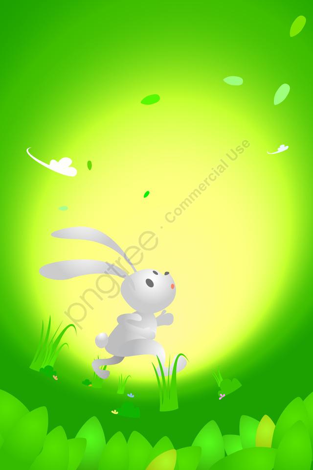 白ウサギ緑の草の森, グリーンリーフ, 白い雲, 木立ち llustration image