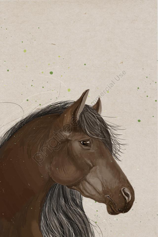 Wild Horse Avatar Elegant Health, Powerful, Brown Horse, Green llustration image