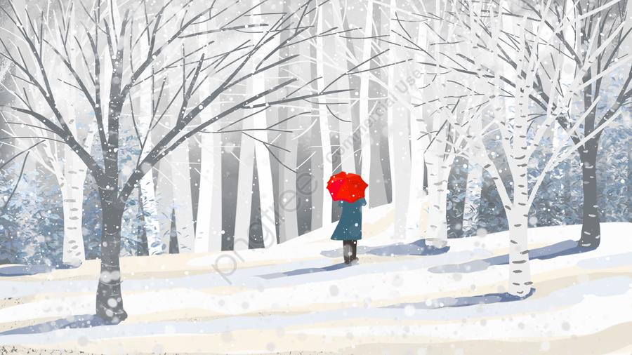 겨울 풍경 눈 장면 겨울, 눈이, 설경, 여자 llustration image