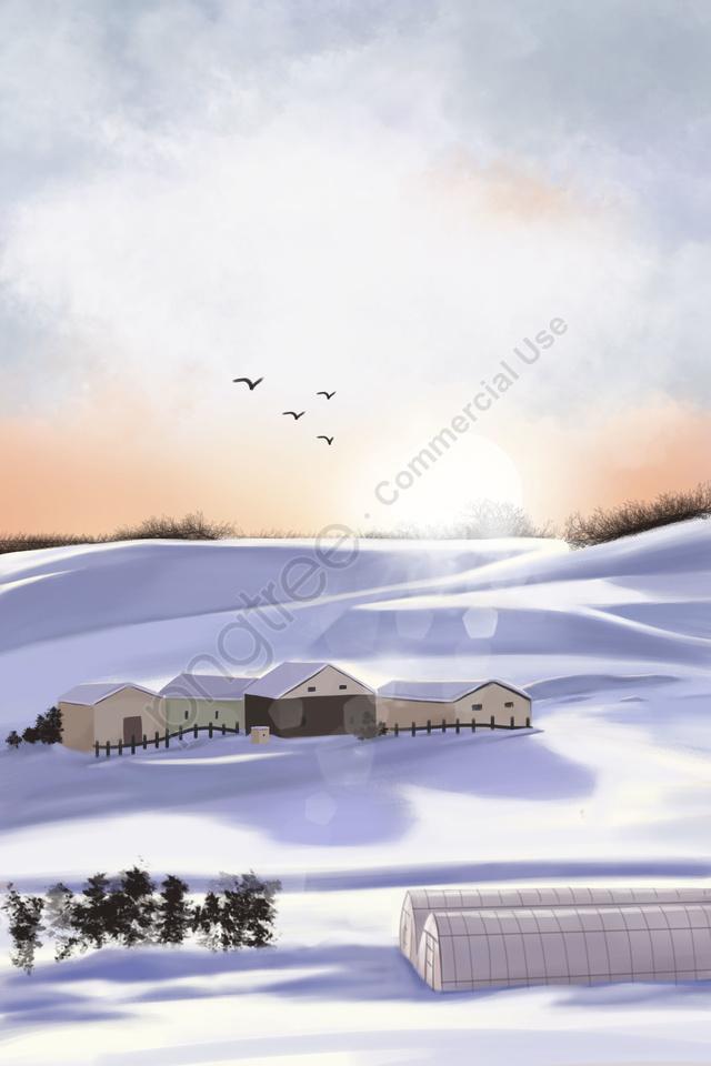 겨울 눈 현장 아름다운 풍경 흰색, 집, 경도, 겨울 llustration image