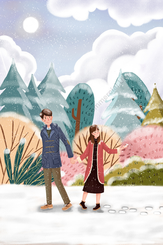 winter snow scene in the snow couple, Snowing, Light Snow, Heavy Snow llustration image