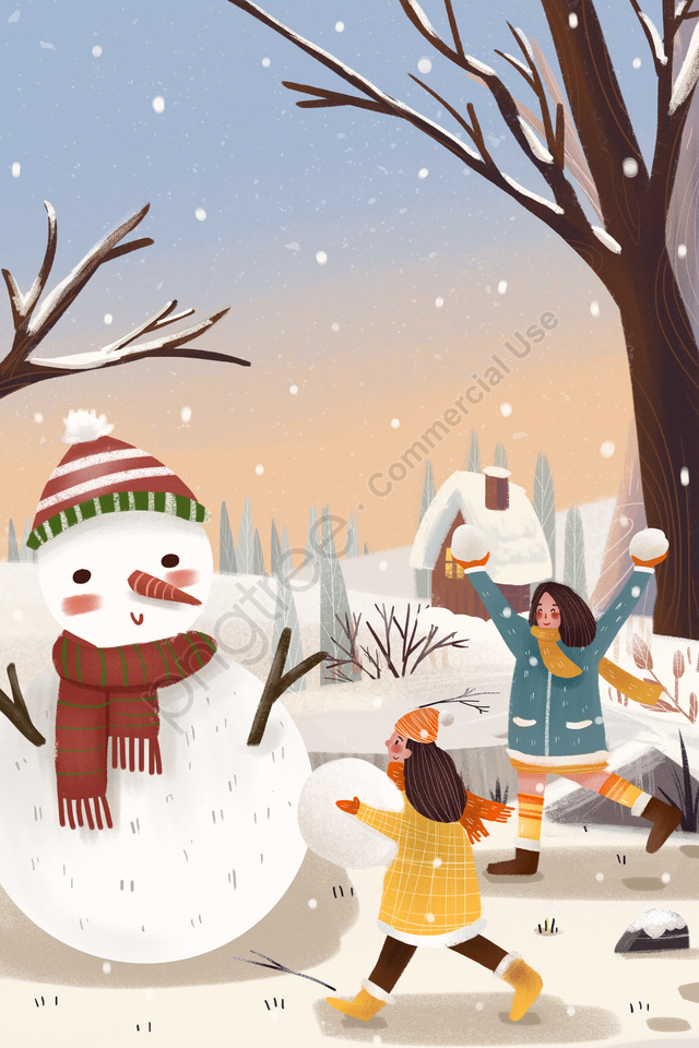 winter snow snowing character, Snow Scene, Hand Painted, Snowman llustration image
