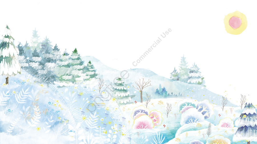 Winter Solstice Osamu Solar Terms Winter, Hand Painted, Fresh, Landscape llustration image