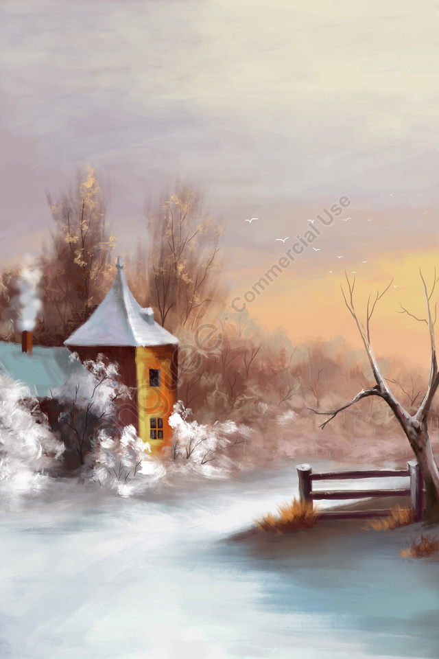 冬至雪のシーン太陽用語雪, 冬, 雪, 冬至 llustration image