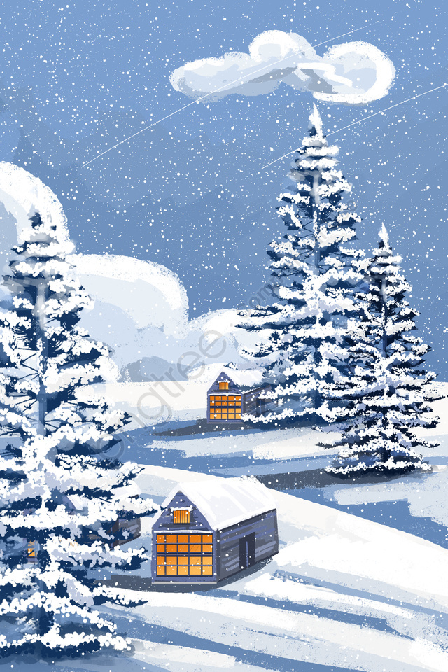 winter winter first snow snow scene, Landscape, Winter Landscape, Hand Painted llustration image