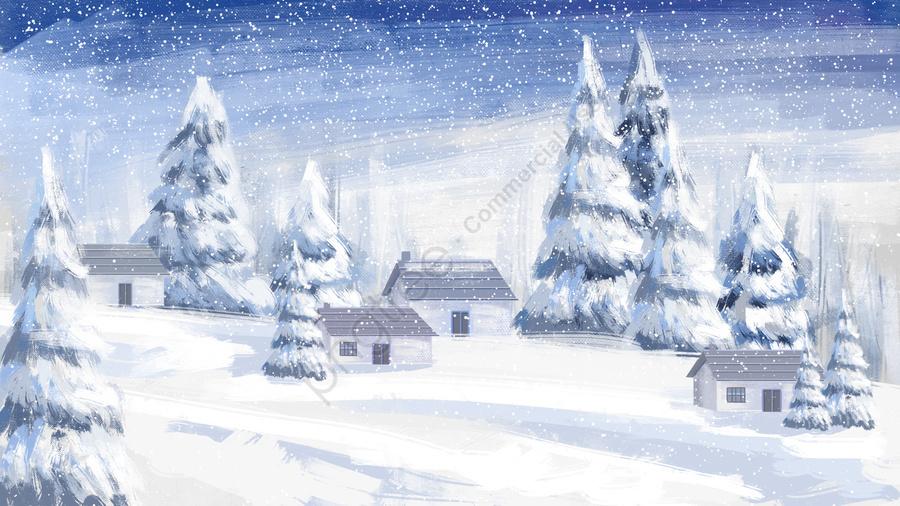 겨울 풍경에 겨울 겨울, 집, 겨울 자유형, 프리 핸드 드로잉 llustration image