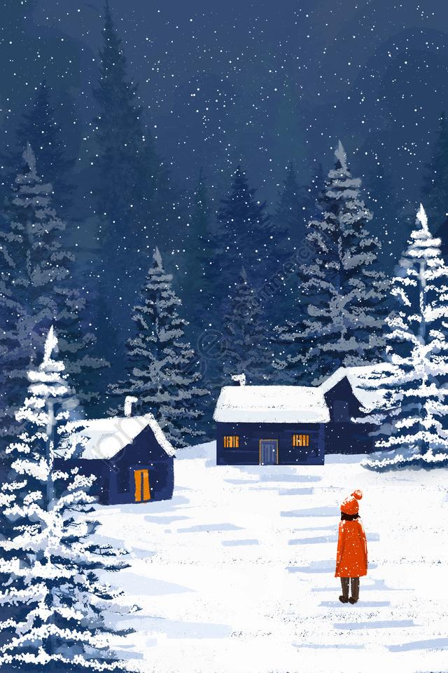 winter winter into the winter snowing, Snow, Girl, Snow Scene llustration image