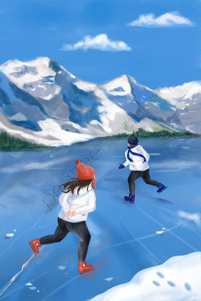 겨울 동지 눈 산 얼음, 눈이, 운동, 스케이트 llustration image