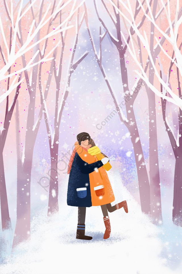 Winter Winter Winter Solstice Beautiful, Romantic, Couple, Snowing llustration image