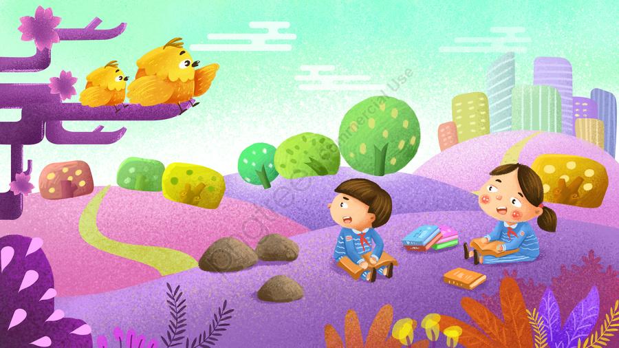 世界読書日記小鳥赤いスカーフティーンエイジャー, 紫, 新鮮, 手塗り llustration image