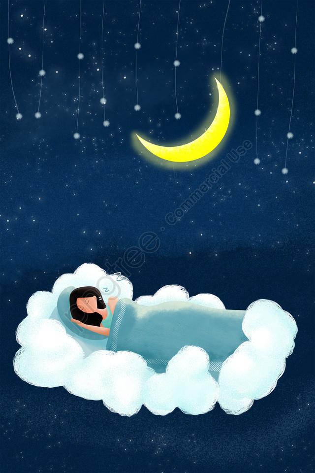 世界睡眠日イラスト夜白い雲, ムーン, 睡眠, 星空 llustration image