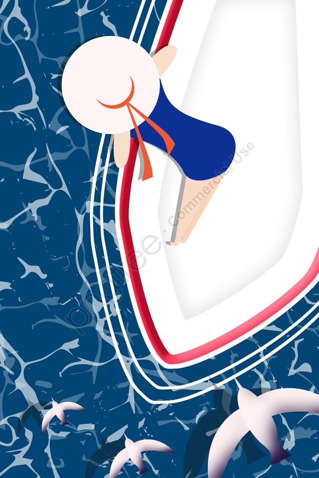 Kapal Laut Kapal Feri Laut Dalam, Gadis, Baju Renang, Menonton Laut llustration image