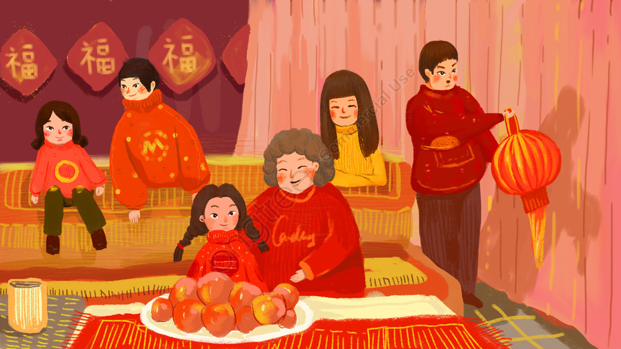 year of the pig blessing family reunion china red, Lantern, Youth Year, Festive llustration image