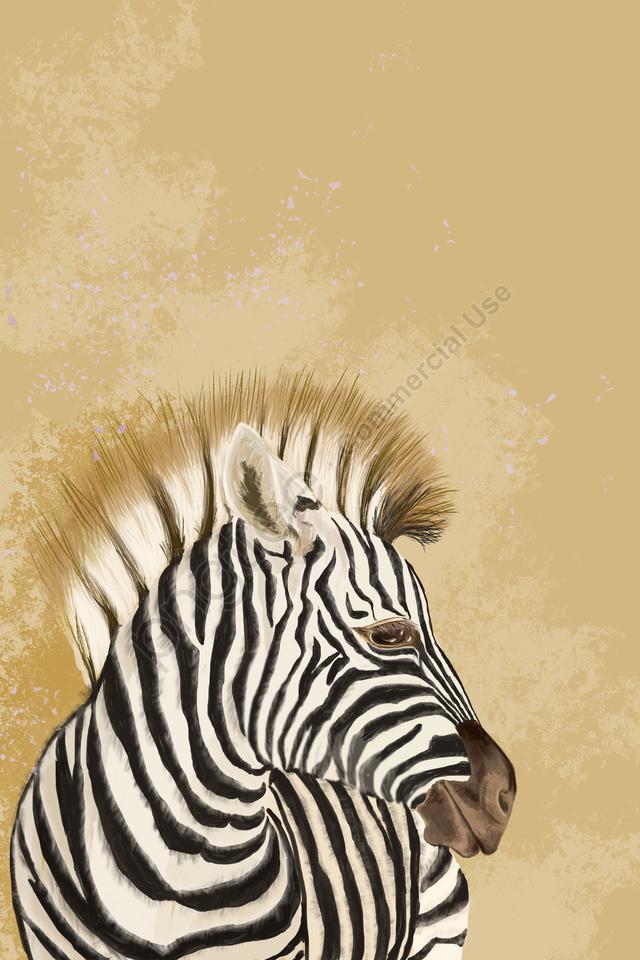 Zebra Avatar Animais Animais Selvagens, A África, Terra Amarela, Amarelo Acastanhado llustration image