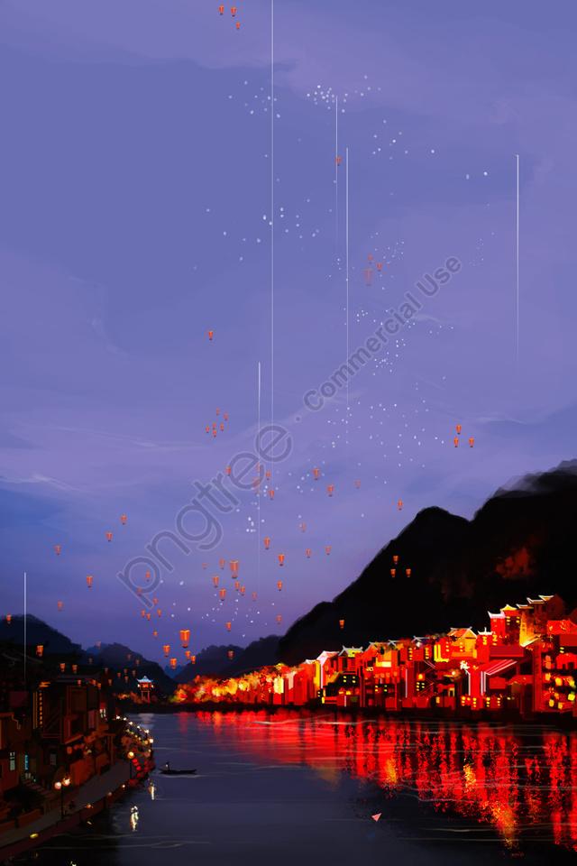 Phố Cổ Zhenyuan Vẽ Tay Minh Họa Phong Cảnh đêm, Sắc Màu ấm, Bầu Trời đầy Sao, Đèn Khổng Minh llustration image