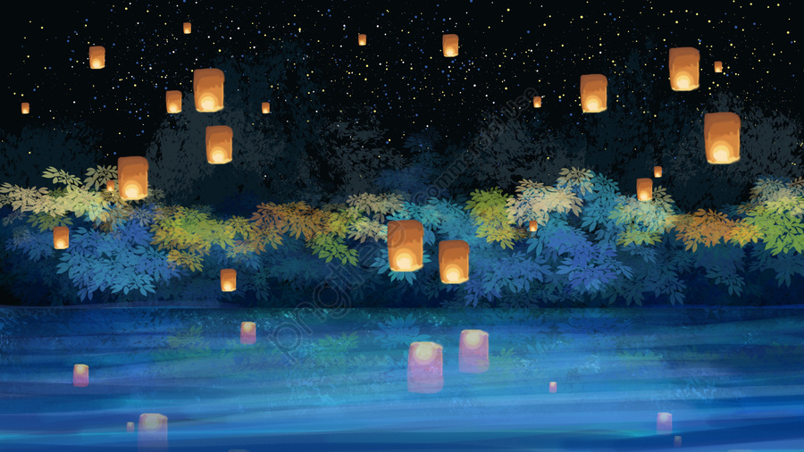 Zhongyuan Festival Festival Night View Kongming Lantern, Lake Surface, Hand Painted, Material llustration image