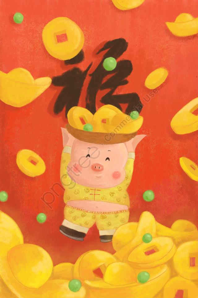 干支豚漫画豚唐ロード豚素敵な, 新年, 春祭り, ゴールド llustration image