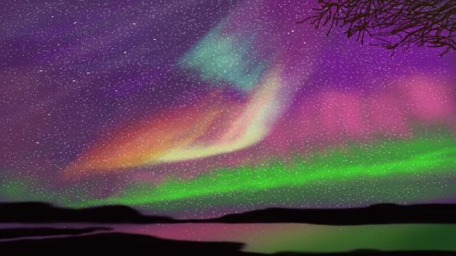 素晴らしい星空の背景 璀璨 星空 オーロラ 夜空 カラフルな 美しい 鳳湃 海辺 反射 空 落ち着いた素晴らしい星空の背景  璀璨  星空 PNGおよびPSD illustration image