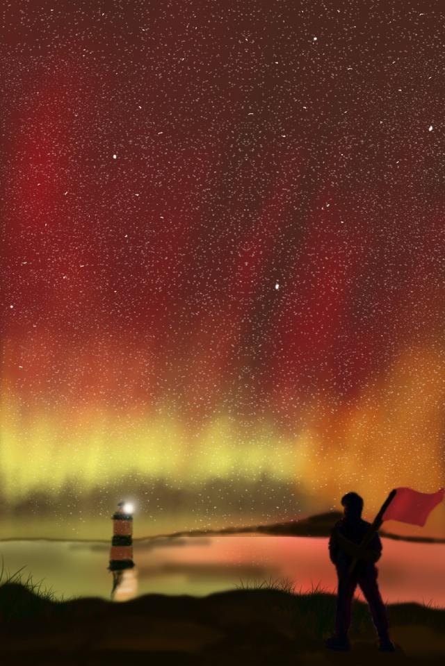 璀璨 별이 빛나는 하늘의 레이저 밤하늘 삽화 소재