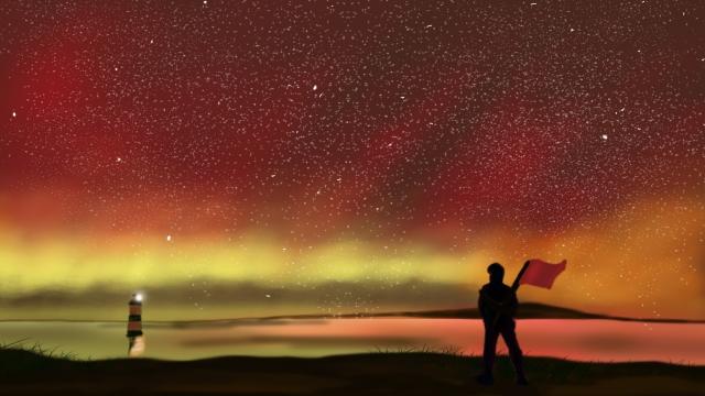 璀璨 starry sky laser night sky llustration image