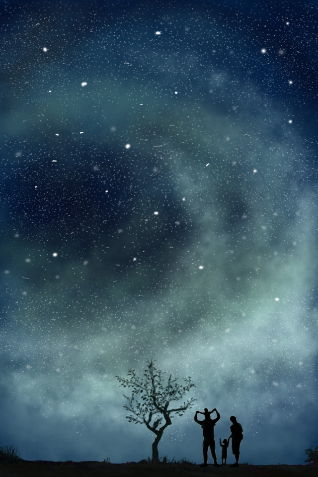 璀璨 starry sky night sky beautiful llustration image