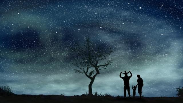 少女白ウサギ静かな時間癒し建物  夜  星 PNGおよびPSD illustration image