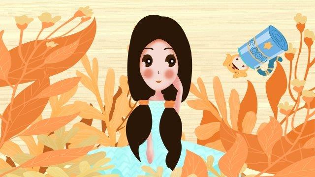 12 constellations constellation aquarius girl, Orange Yellow, Flowers, Beautiful illustration image