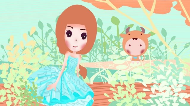 12 constellations constellation capricorn girl, Aqua Green, Flowers, Beautiful illustration image