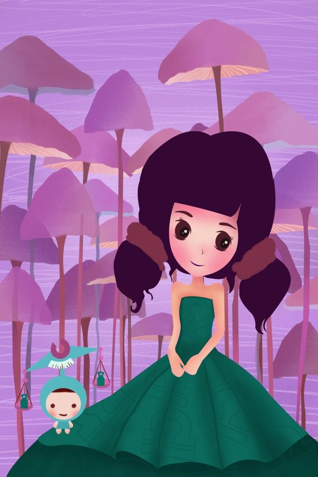 12 constellations constellation libra girl, Purple, Mushroom Forest, Beautiful illustration image