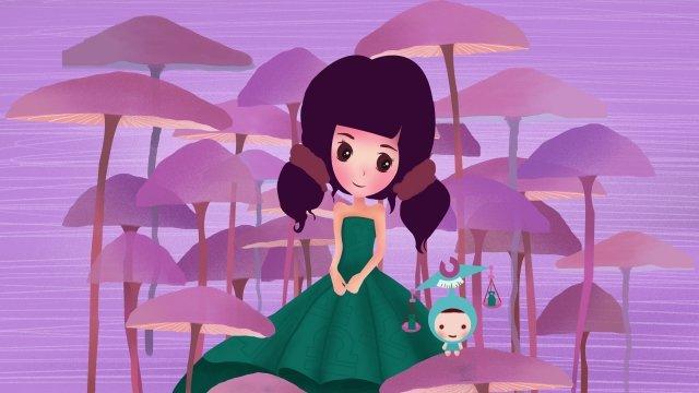 12 constellations constellation libra girl, Purple, Mushroom Forest, Beautiful illustration image