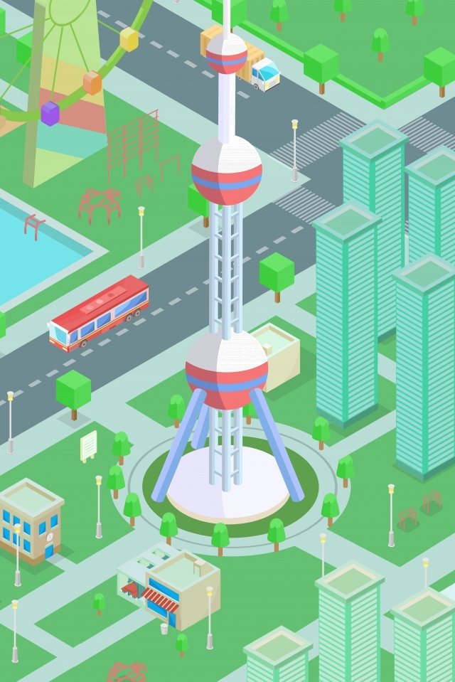 2 5d 3d city oriental pearl tower llustration image