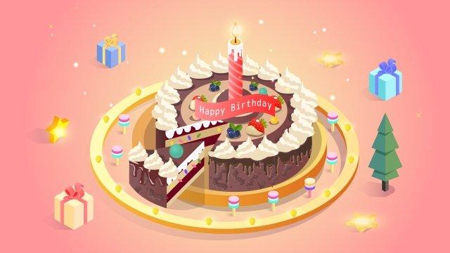 2 5d立體圖蛋糕 插畫素材