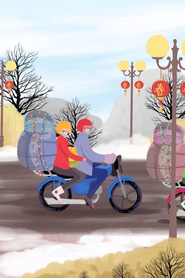 豚新年あけましてオートバイの2018年 イラスト素材