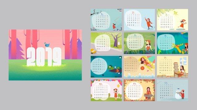 calendário de mesa de calendário 2019 pintado à mão Material de ilustração