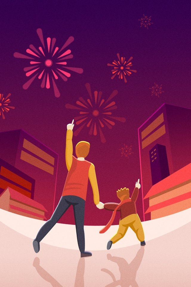2019 new year festival new year year of the pig, Fireworks, Father And Son, New Years illustration image
