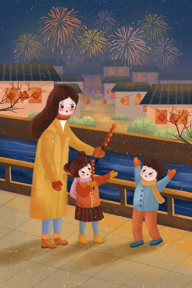 2019 ano novo festival de primavera da família Material de ilustração Imagens de ilustração
